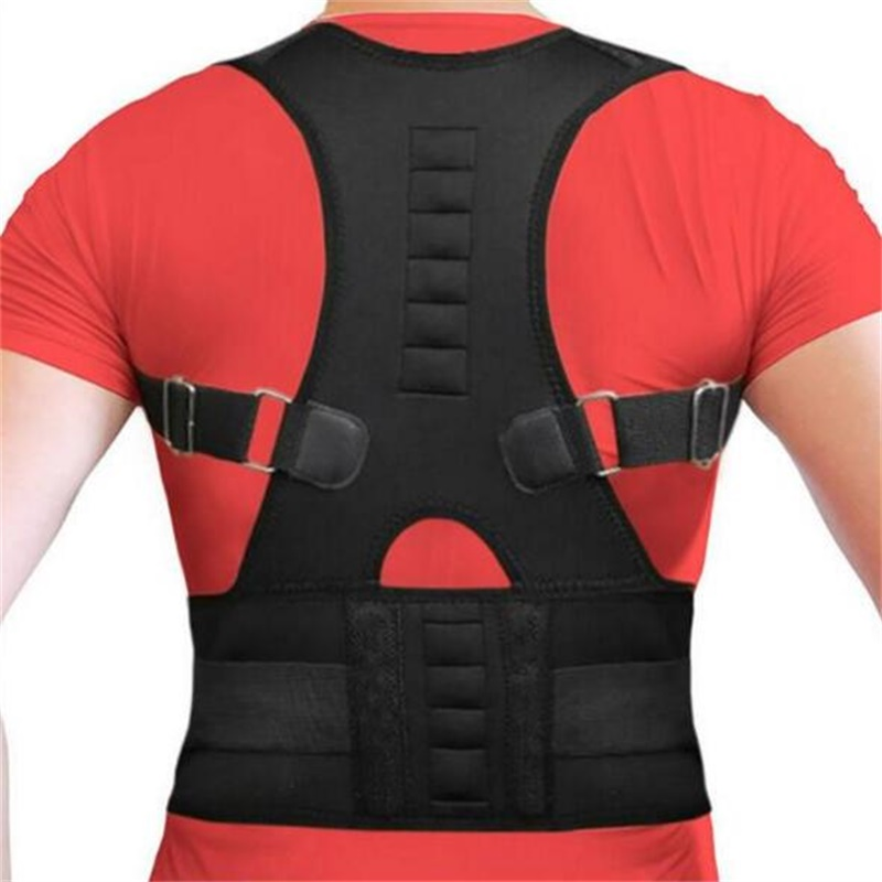 Women Men Orthopedic Back Support Belt Magnetic Posture Corrector Correct Posture Brace  ...