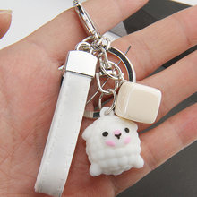 2019 New Fashion Epoxy Three-dimensional Cute Alpaca Keychain Doll Creative Cartoon Little Sheep Bag Pendant Jewelry Small Gift(China)
