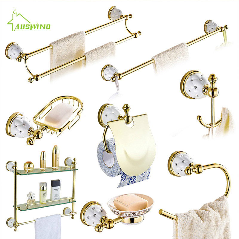 Accessories:  Diamond&Stars Bathroom Accessories Sets Crystal Brass Gold Bathroom Hardware Sets Wall Mounted Bathroom Products - Martin's & Co