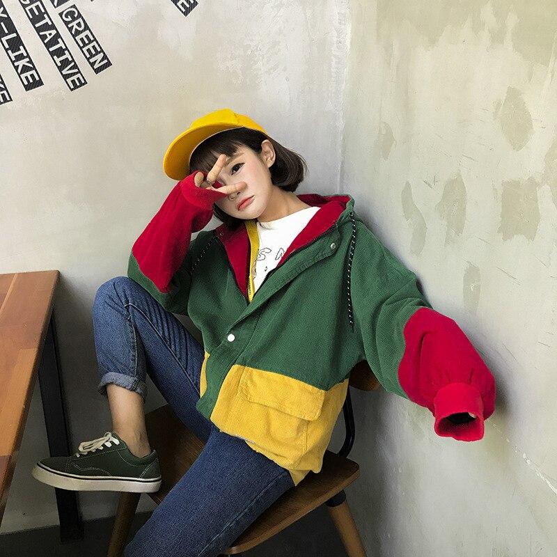 Corduroy loose women   basic     jacket   fashion autumn patchwork punk women   jacket   coat hooded outwear female work clothes NLD1176