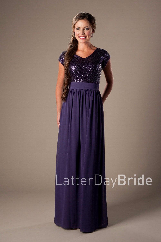 Purple Sequins Chiffon Long   Bridesmaid     Dresses   Modest Cap Sleeves V neck Simple A-line Beach Rustic Formal Wedding Party   Dresses