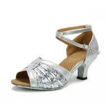 Купить с кэшбэком New Brand Latin Dancing Shoes Women's Shoes Salsa Party Ballroom Dancing Shoes 5.5cm Latin Dance Shoes Woman Wedge Sneakers