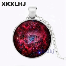 XKXLHJ New Necklace Pendant Nebula Galaxy Red Space Art Photo Black Jewelry