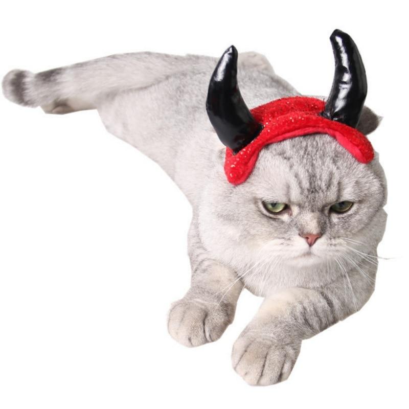 OX Horns Cat Hat Matador Shape Pet Dog Product Red Halloween Party Cosplay Decor