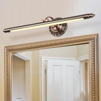 Luces De Tocador Retro 8 W 50 CM LED Espejo Luz Frontal Bronce Gabinete Mesa Maquillaje Lámpara Baño Pared Lámparas Dormitorio Decoración Del Hogar