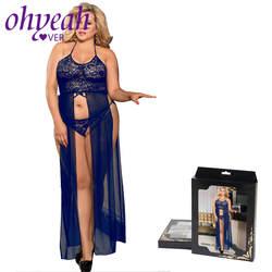 Ohyeahlover пикантные Длинные белье платье Эротическое белье открытые эротические костюмы Кружева женское платье для секс плюс Размеры