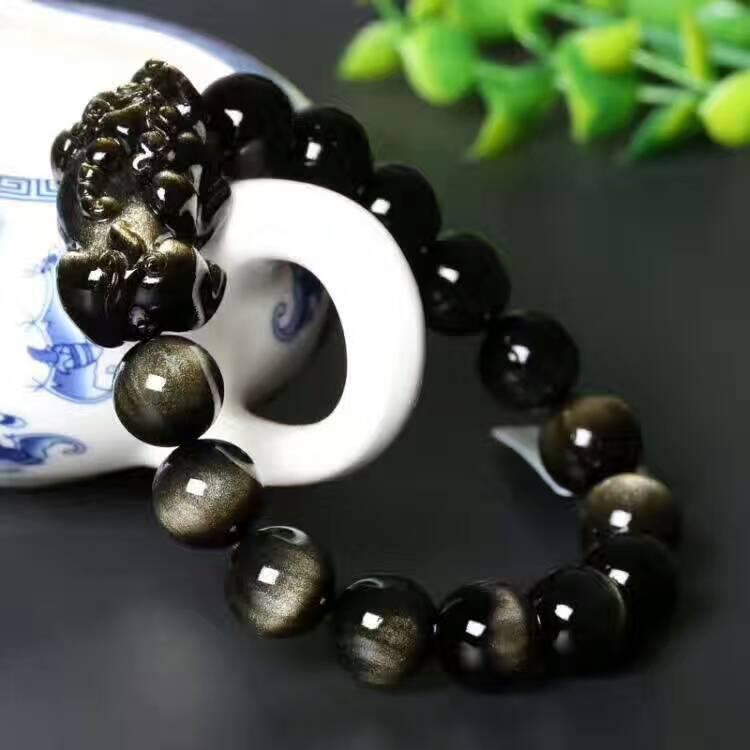 Mode Naturel Or Obsidian PiXiu Dragon Perles Bracelet Puissant