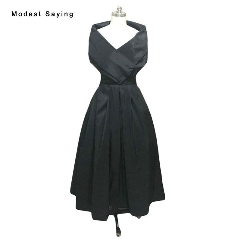 Real Vintage Black A Line Off Shoulder Cocktail Dresses 2017 vintage 1950's Tea Length Party Prom Gowns robe de cocktail VC10
