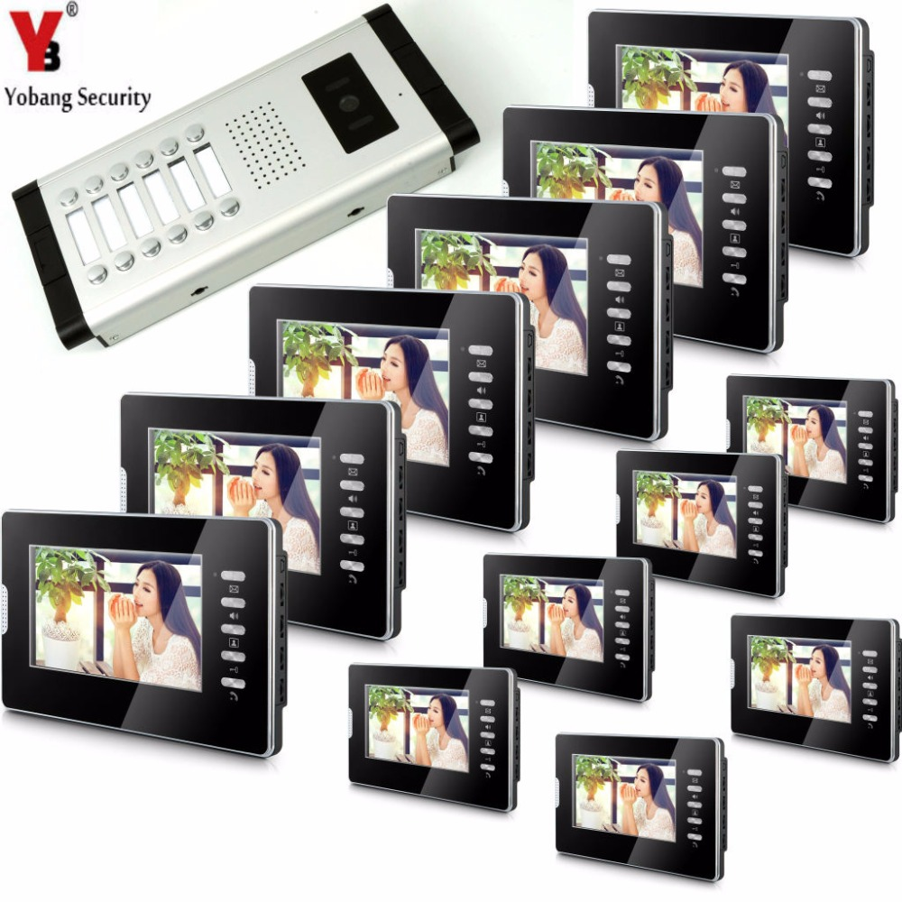 YobangSecurity Video Door Intercom 7Inch Monitor Video Doorbell Door Phone Speakphone Camera Intercom For 12 Units Apartment yobangsecurity wifi wireless video door phone doorbell camera system kit video door intercom with 7 inch monitor android ios app