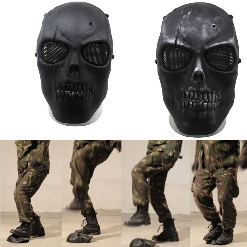 Black Airsoft Paintball Tactical Full Face Protection Skull Mask CS War Game GL
