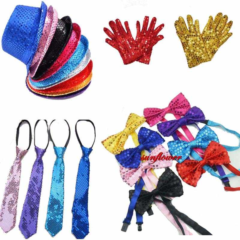 Boy Girl Men Woman Sequin Hat Bow Tie  Gloves for Fancy Dress  Birthday Party Cap Jazz Hats Dance Show Performance Tie Carnival