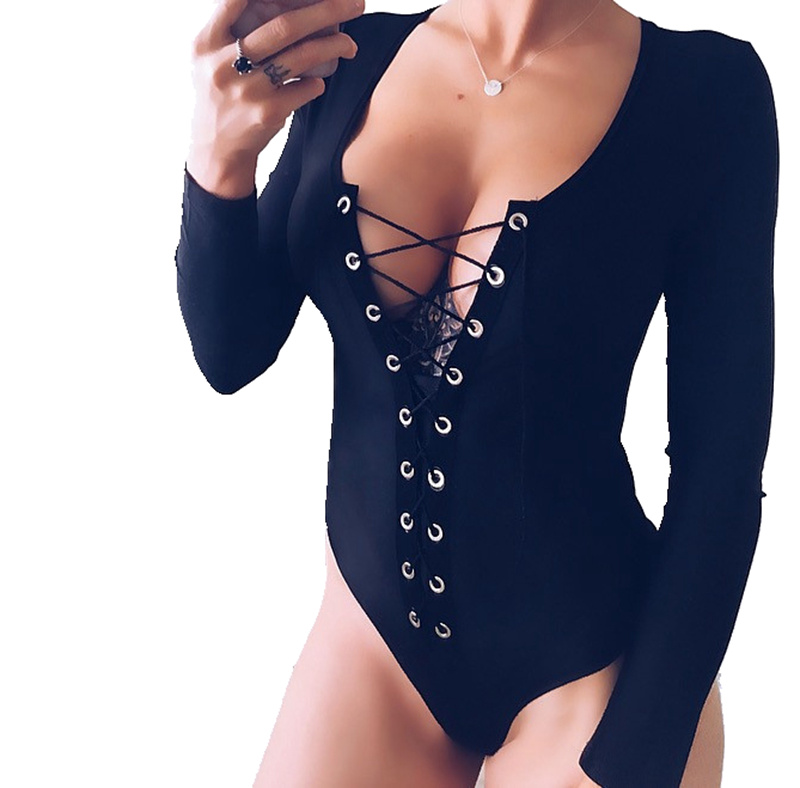 New Women Ladies Lace Up V-neck Clubwear Bodysuits Slim Bandage V Neck Bodycon Party Bodysuits Trousers