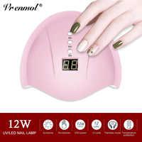Vrenmol 12 W Nagel Trockner UV LED Nagel Lampe Gel Curing Lampe Erfüllt Bodem 30 s/60 s /99 s Timer Nail art Gereedschap