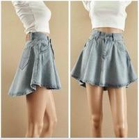 2016 Free Shipping New Arrival Fashion Denim Skirts Womens A Line Irregular Jeans Flared Skirt Women