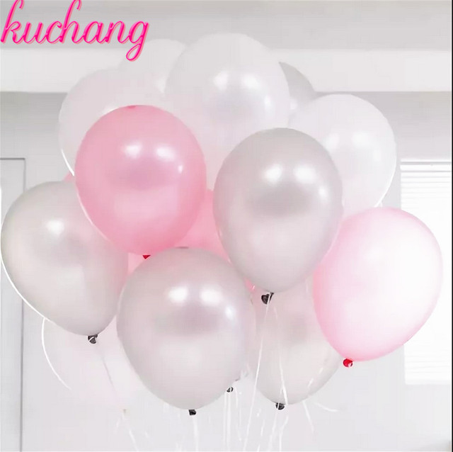 30pcs 10inch Blue Pink White Silver Mixed Latex Balloons For Hy Birthday Supplies Baby Shower Decoration Helium Balloon