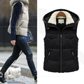 Plus Size M-5XL Women Vest Winter&Autumn Slim Hooded Sheer Thicken Fashion Casual Slim Ladies Vests Colete Waistcoat 0167