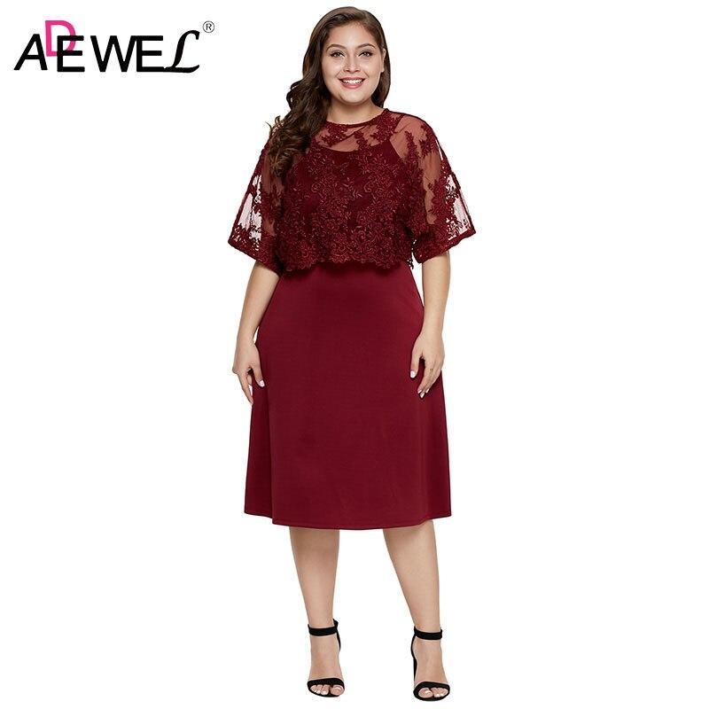 ADEWEL bordeaux grande taille robes avec dentelle châle femme été Floral dentelle superposition manches courtes grande taille femme formelle robe