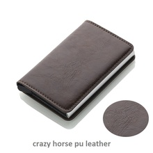 2019 Men And Women Card Holder RFID Aluminium Business Credit Card Holder Crazy Horse PU Leather Travel Card Wallet цена и фото