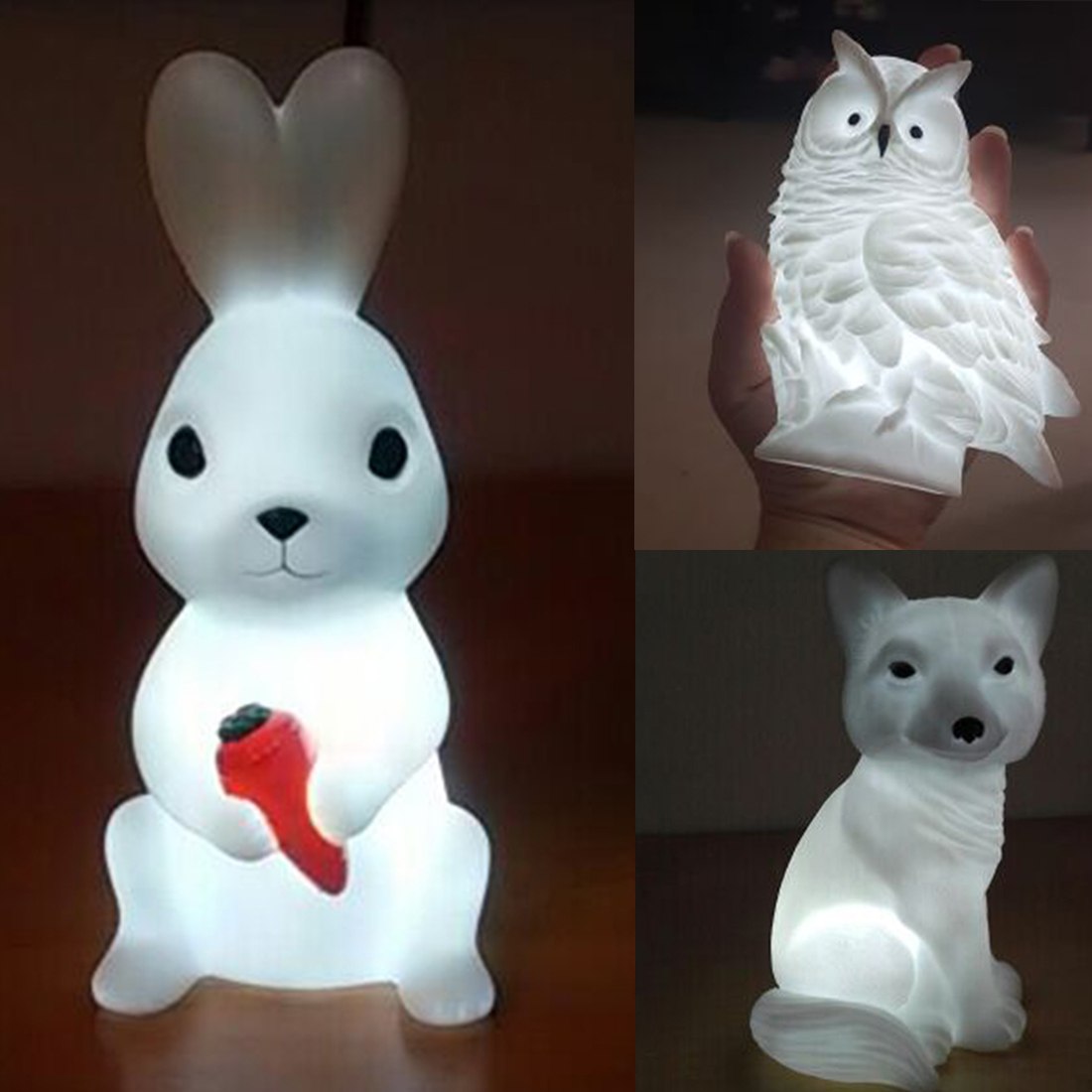 Gift For Child Animal LED Night Light Lovely Creative Rabbit Fox Owl Lights Silicone Dolls Nightlight Baby Bedroom Table Lamp