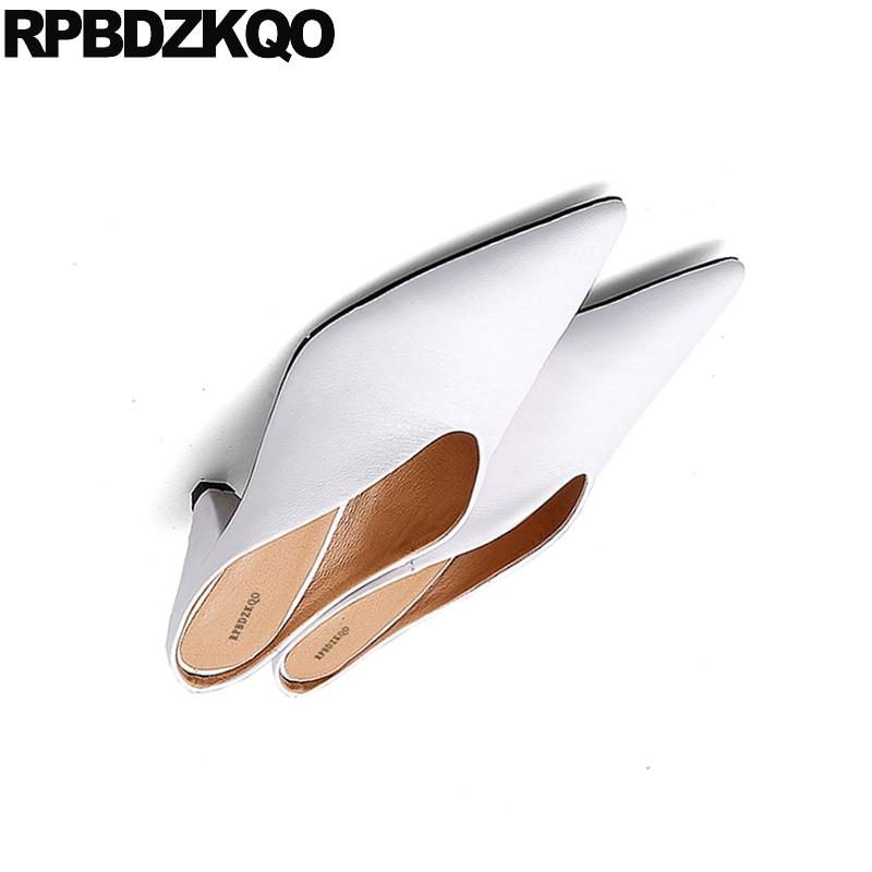 Pompes Suede D'été Haute 2018 Black Sandales Pointu Véritable Suede Femmes Frais blanc Cuir Moyen Mules Pantoufle Talons Bout Blanc En Bloc Chaussures Mode 5n0PpvUU