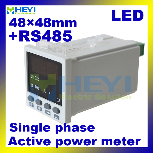 48*48mm LED digital watt meter single phase Class 0.5 digital Active power meter with RS485
