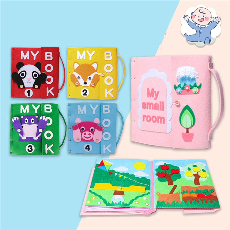 Felt DIY Cloth Books Non-Woven Panting Book Fabric Handmade Children Toys DIY Christmas Paste Gift For Kid Felt DIY Package