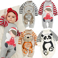 Autumn Baby Romper Long Sleeve Baby Girls Clothing Cartoon Animals Print Baby Rompers Striped One Piece Toddler Boys Jumpsuit