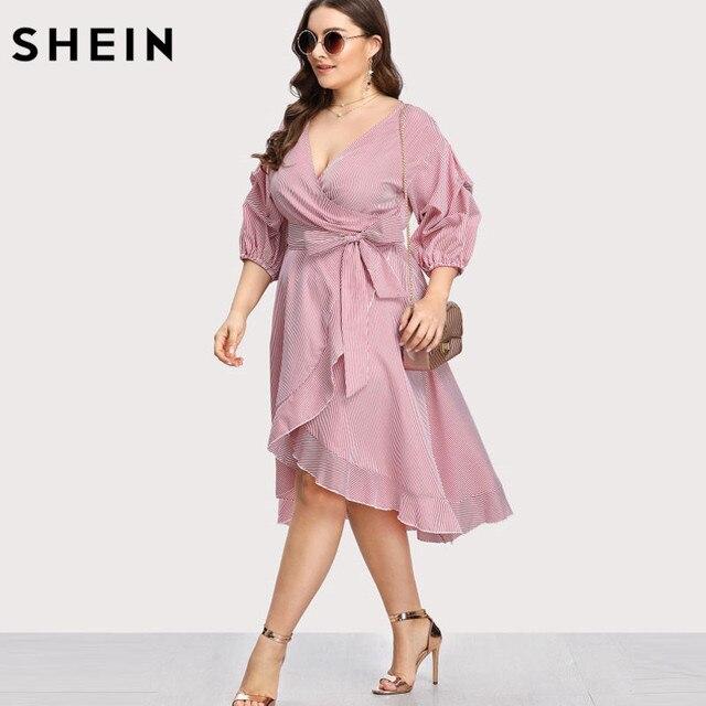 SHEIN Pink Plus Size Striped Dress V neck Women Dress Lantern Sleeve Ruffle Trim Pinstripe Large Sizes Vacation Red Dress