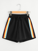 Striped Sides Drawstring Shorts Summer Elastic Waist Athleisure Shorts Women Black Mid Waist Sporting Shorts недорого