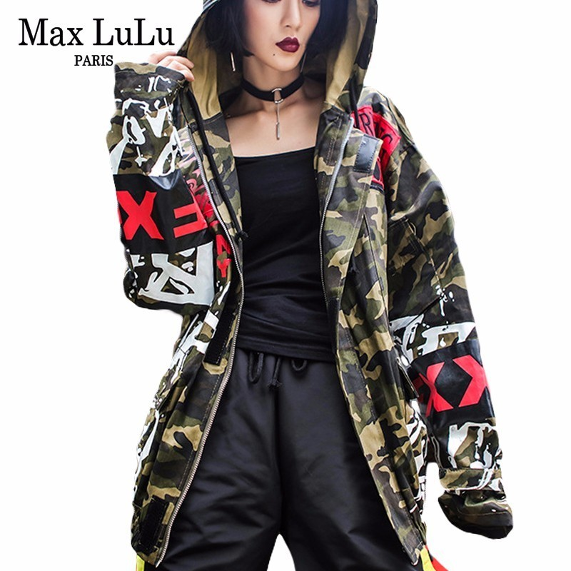 Max LuLu Autumn Korean Military Style Ladies Camouflage Windbreaker Women Hooded Long Jacket Chaqueta Mujer Woman