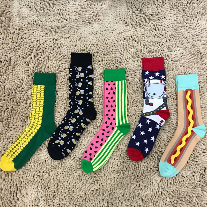 Happy socks color beer mug corn watermelon hot dog spaceman cartoon cotton jacquard men socks perfect quality Harajuku fun socks