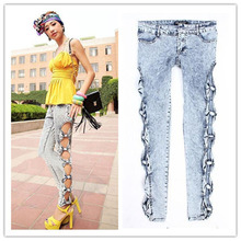 Women Jeans Pants buttons Butterfly Hollow Out Design Skinny Pants female Legging Floral Denim Jeans ripped skinny jeans woman