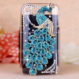 New Bling Colorful Peacock Crystal Rhinestone Diamond Back Cover For Apple iPhone 3G 3GS Case phone cases