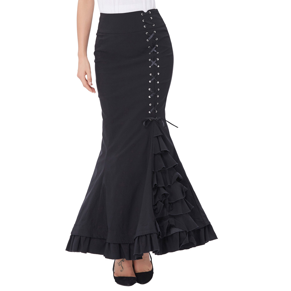 44446fa060ee5 US $26.19 36% OFF|Long Skirts Womens Elegant Fishtail Mermaid Skirt Black  Grey Victorian Gothic Ruffle Steampunk Retro Vintage Skirts Maxi Skirt-in  ...