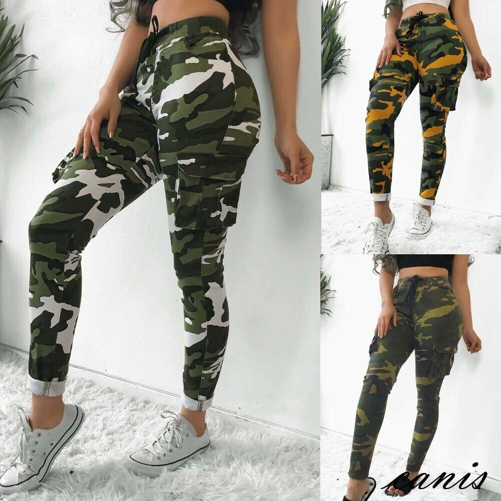 57220a59b Streetwear Punk Black Cargo Pants Women Capris Trousers High Waist Pants  Camouflage Loose Joggers Women Army ...