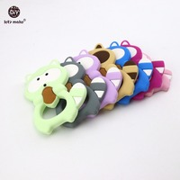 Let's Make Baby Silicone Teether Raccoon 5pc Lovely BPA Free Colorful Raccoon Teether Pine Nut Necklace Pendants