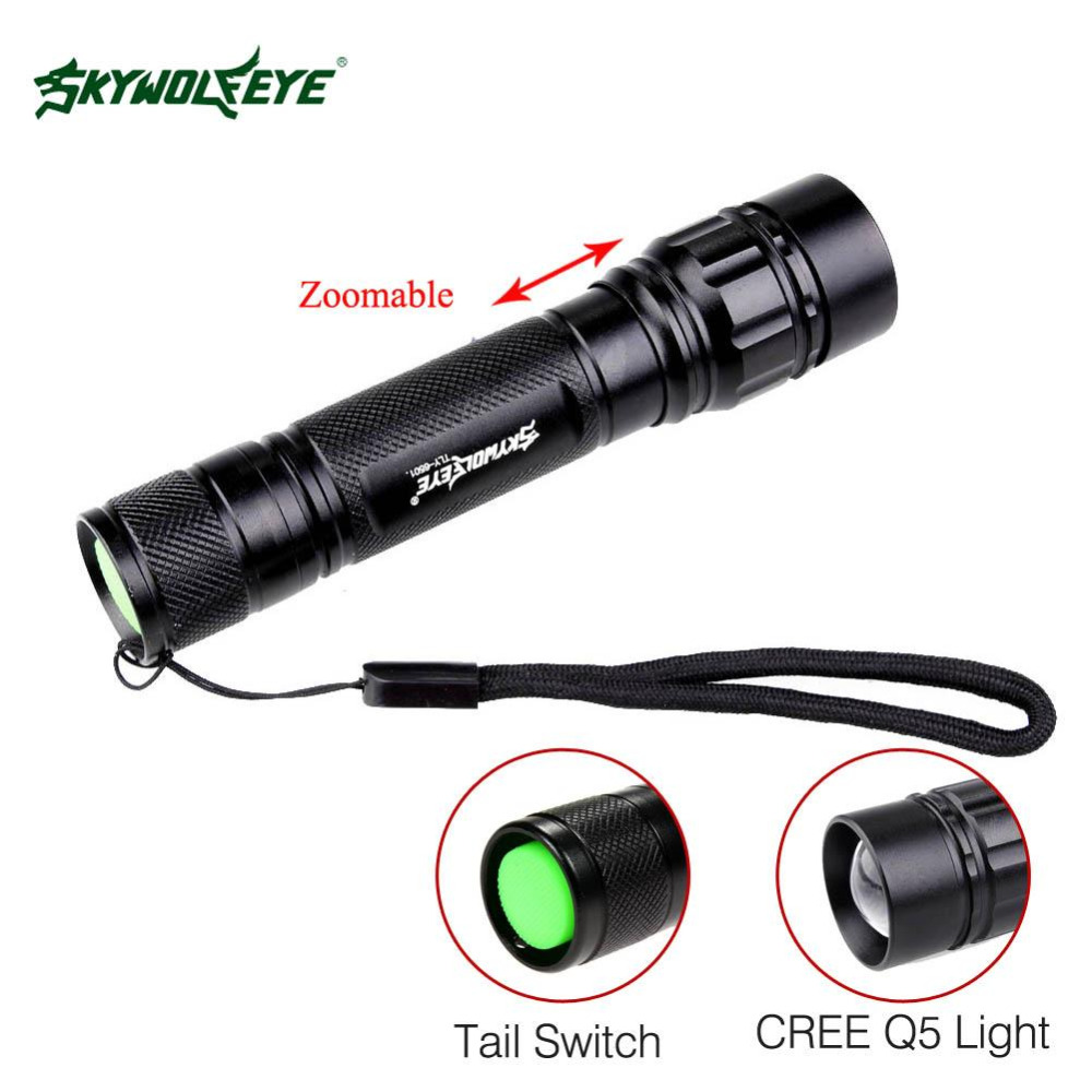 SKYWOLFEYE LED Flashlight 18650 zoom torch Waterproof flashlights 300LM 3 Modes LED Zoomable light For 18650 3.7v Battery A391-in LED Flashlights ...