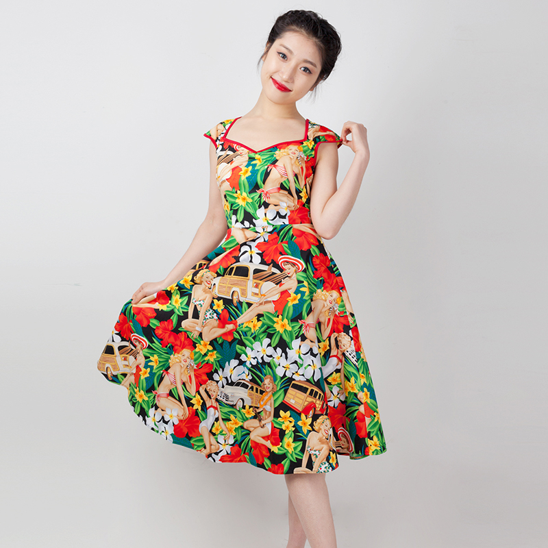 US $52.79 34% OFF|35 hawaii cowgirl cherry skull print vintage 50s  rockabilly pinup sweetheart neck swing dress plus size 4xl dresses  vestidos-in ...