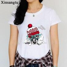 ФОТО women t shirts printed wear a christmas hat dog design 2017 spring summer new tees short sleeve t-shirts hot tops women t-shirts