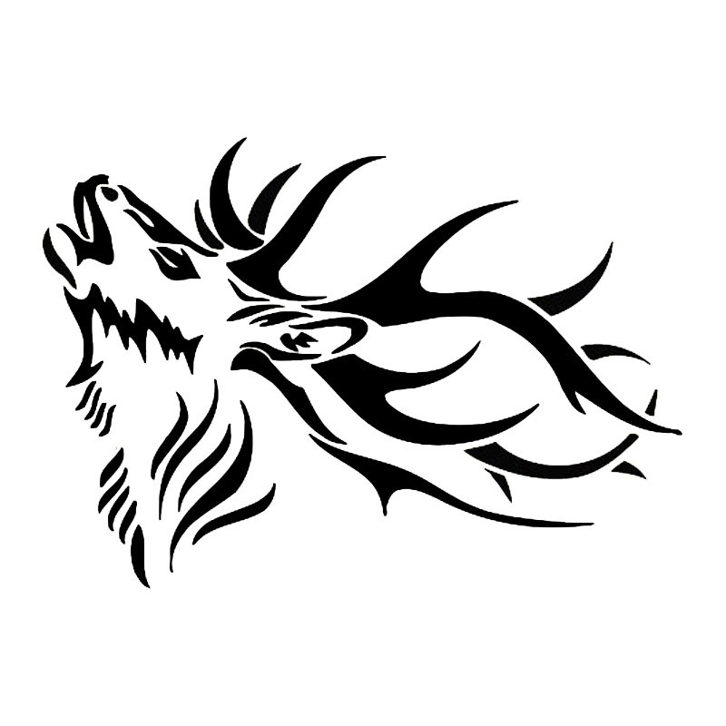 15.2*10.8CM Adult Male Deer Vinyl Car Styling Animal Cool Vinyl Outdoor Hunting Car Sticker Black/Silver YH-089 ...