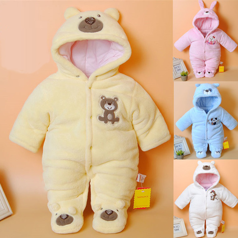Newborn Baby Rompers Cartoon Hooded Winter Baby Clothing Thick Cotton Baby Girls Outfits Baby Boys Jumpsuit Infant Clothes цена