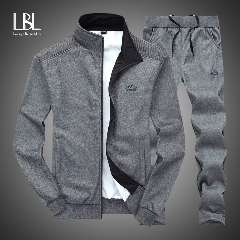 Autumn Tracksuit Men 2019 Sportswear Fashion Mens Set Two Pieces Zipper Warm Sweatshirt Jacket+Sweatpants Moleton Masculino Sets