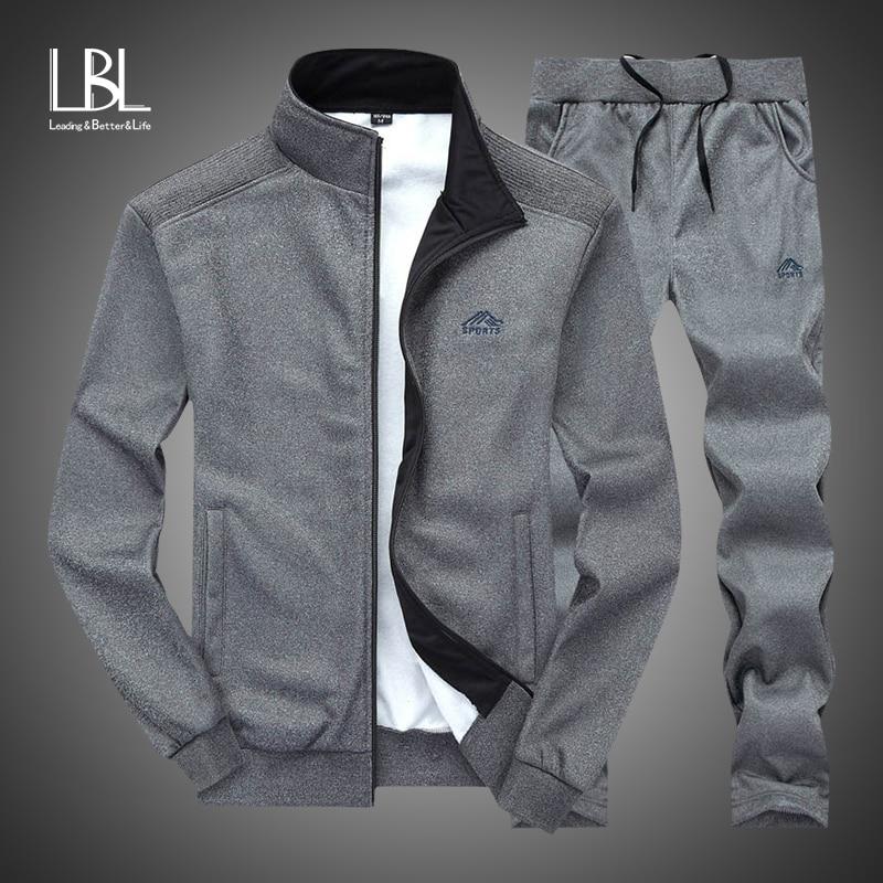 Trainingsanzug Männer 2018 Herbst Sportswear Fashion Mens Set 2 stücke Zipper Mit Kapuze Sweatshirt Jacke + SweatPant Moleton Masculino Sets