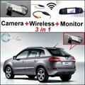 3 in1 Especial Cámara de Visión Trasera + Receptor Inalámbrico + Espejo monitor de bricolaje fácil sistema de copia de seguridad de estacionamiento para renault samsung qm5