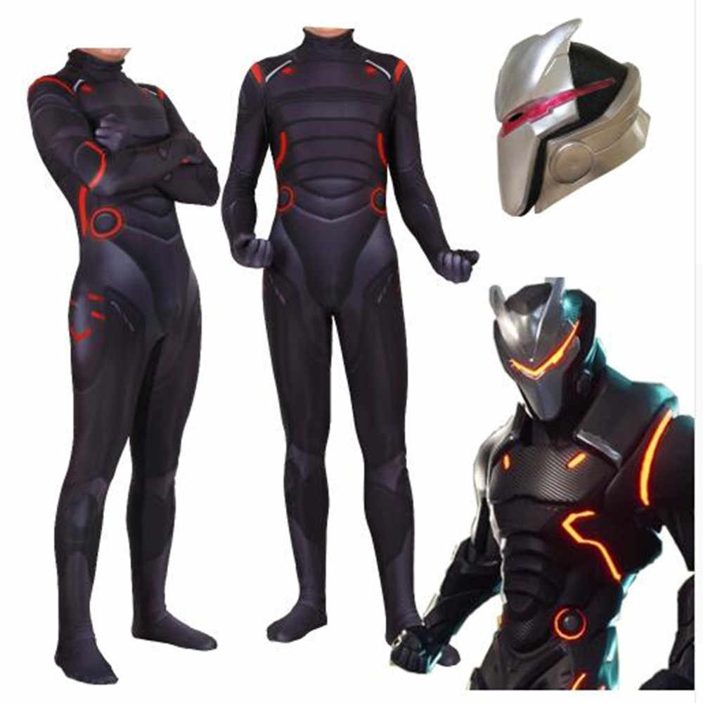 Grande taille 3XL adulte enfants jeu Cosplay Costume Omega oubli lien Zentai body Costume combinaisons masque LED Halloween