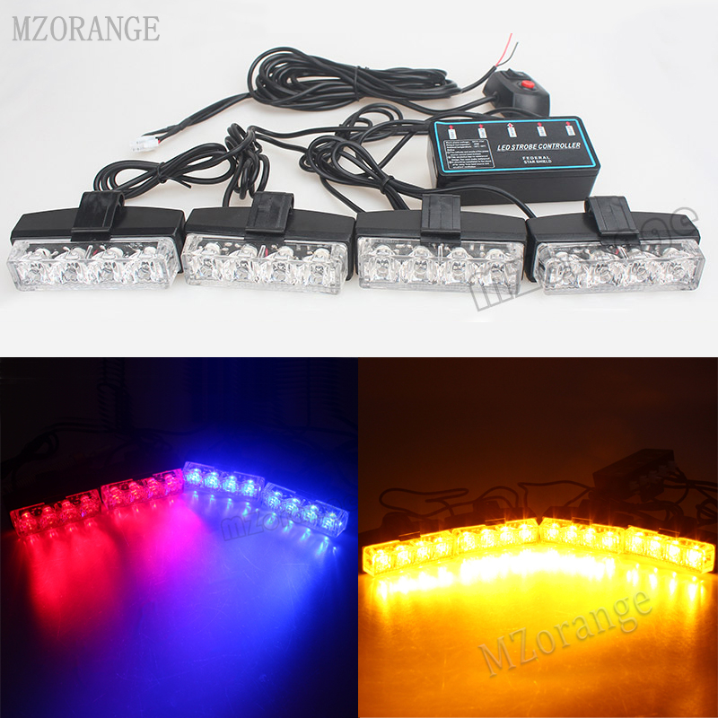 4*4 LED Car-styling Police Light Strobe Warning Light Blue Red Yellow White Car Truck Emergency Light Super Power Firemen Lights