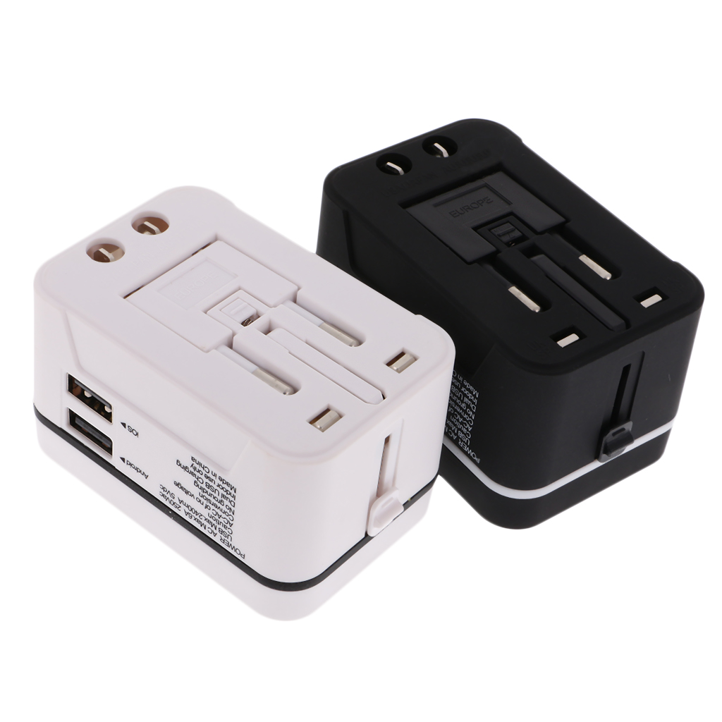 All in One Universal International Plug Adapter Dual USB Port World Wide Travel AC Power Charger Adaptor with AU US UK EU Plug