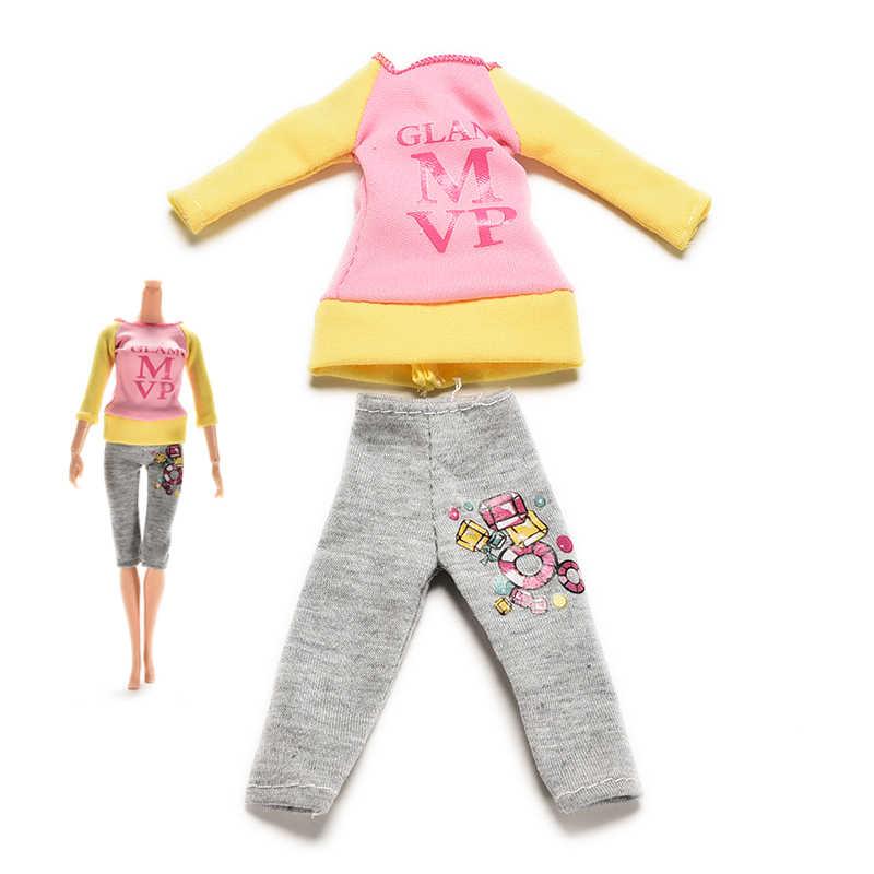 1 セット漫画素敵な人形スーツ服レタープリント長袖 Tシャツパンツのためのバービー人形