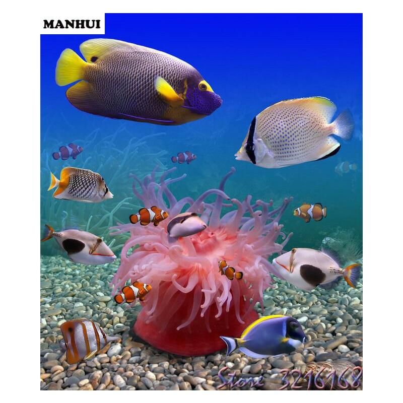 3D Вышивка с кристаллами узор 5D diamond Вышивка рыбы Мозаика смолы полный дрель Домашний Декор DIY живопись SA103