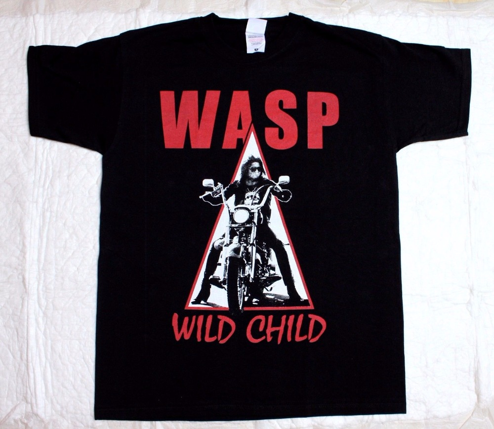 W.A.S.P. Wild Child85 Heavy Metal Band Wasp Twisted Sister New Black T-Shirt Printed T Shirt Men Cotton T-Shirt New Style